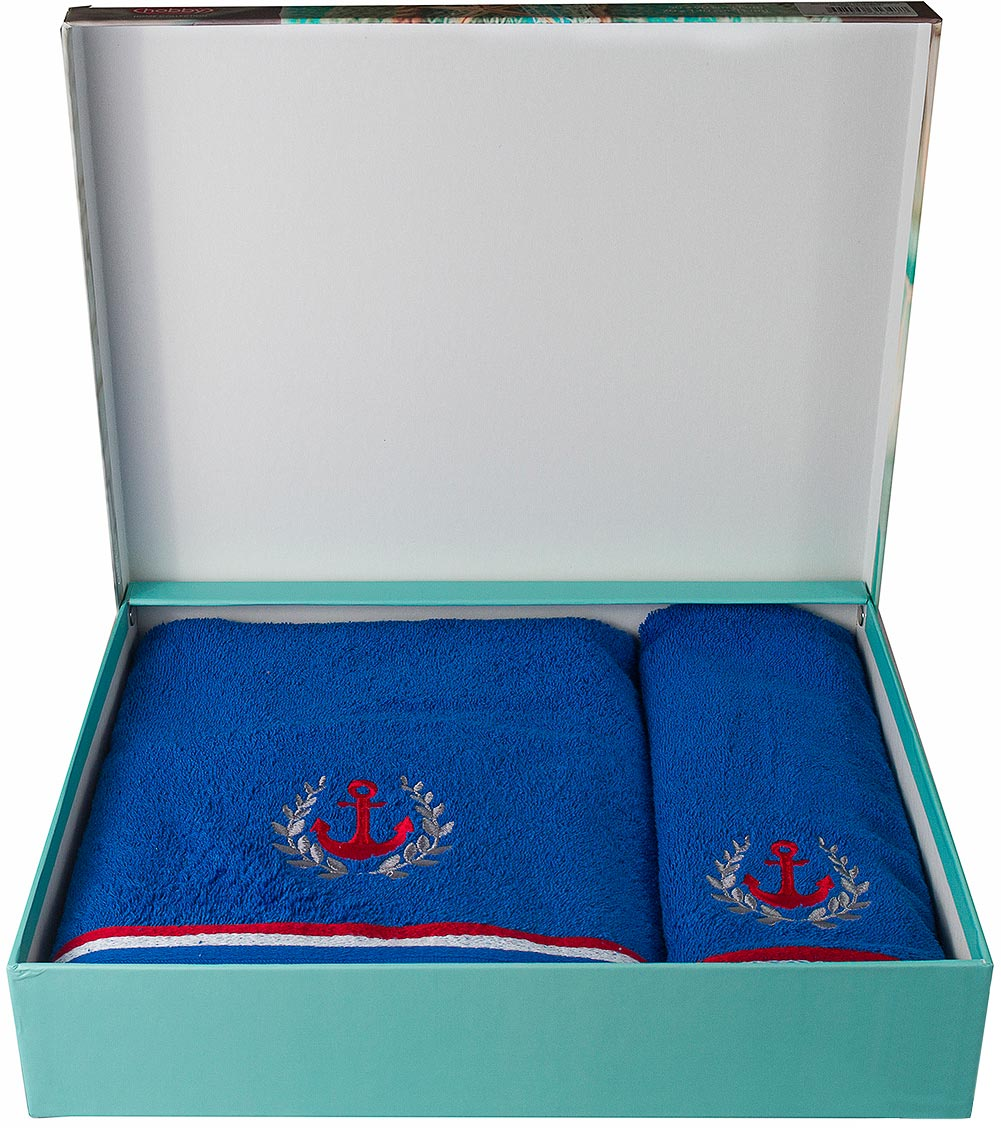 "Полотенце махровое Hobby Home Collection ""Maritim"", цвет: синий, 50 х 90 см, 70 х 140 см, 2 шт"