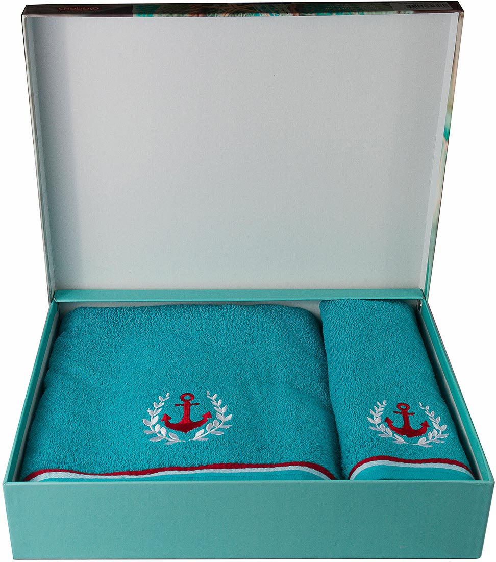 "Полотенце махровое Hobby Home Collection ""Maritim"", цвет: бирюзовый, 50 х 90 см, 70 х 140 см, 2 шт"