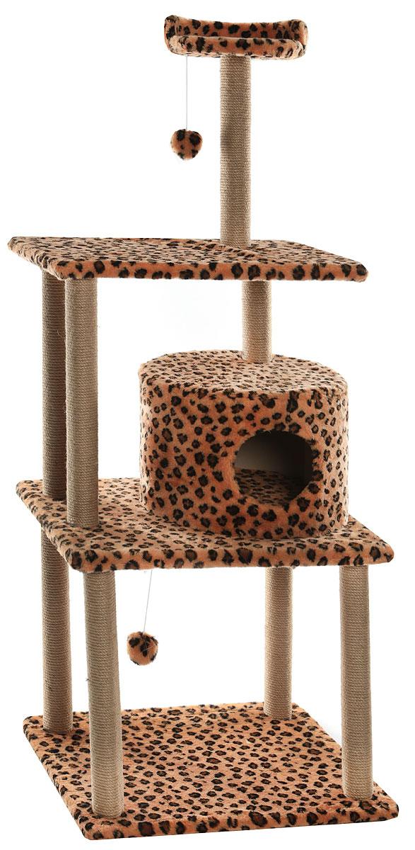 Домик-когтеточка Меридиан, круглый, с двумя игрушками, цвет: леопардовый, 65 х 50 х 153 см домик когтеточка меридиан квадратный на подставке цвет леопардовый 39 х 39 х 102 см