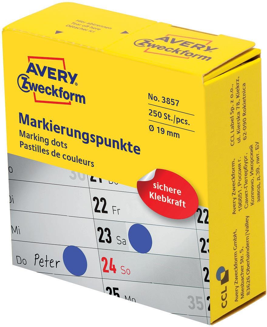 Avery Zweckform Этикетки-точки самоклеящиеся в диспенсере цвет синий 250 шт