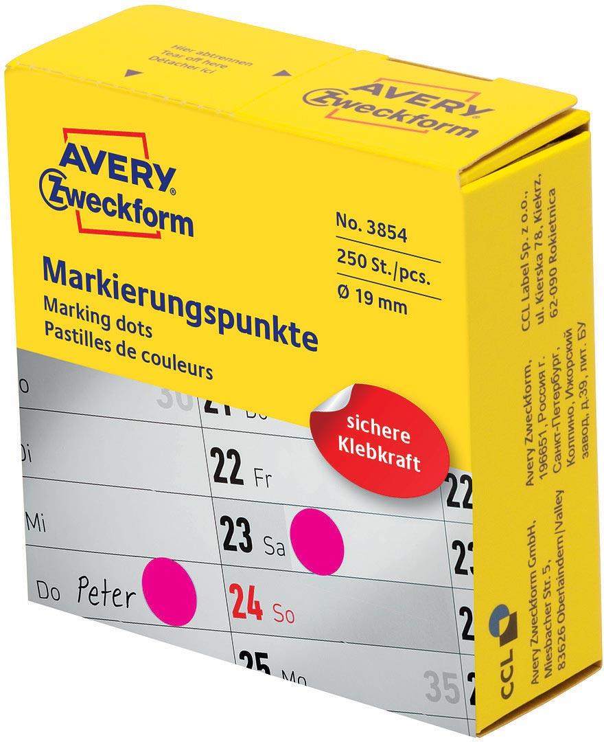 Avery Zweckform Этикетки-точки самоклеящиеся в диспенсере цвет фуксия 250 шт avery zweckform этикетки точки самоклеящиеся в диспенсере цвет зеленый диаметр 1 9 см 800 шт