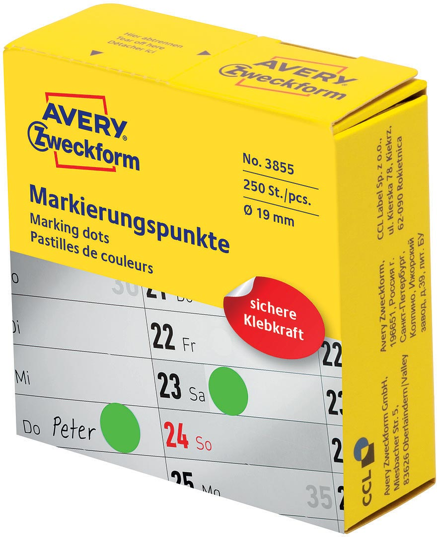 Avery Zweckform Этикетки-точки самоклеящиеся в диспенсере цвет: зеленый диаметр 1,9 см 250 шт avery zweckform этикетки точки самоклеящиеся в диспенсере цвет зеленый диаметр 1 9 см 800 шт