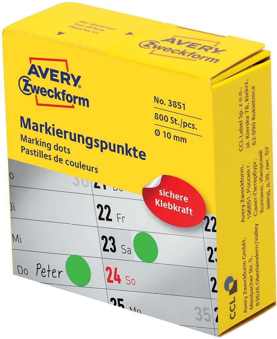 Avery Zweckform Этикетки-точки самоклеящиеся в диспенсере цвет зеленый диаметр 10 мм 800 шт