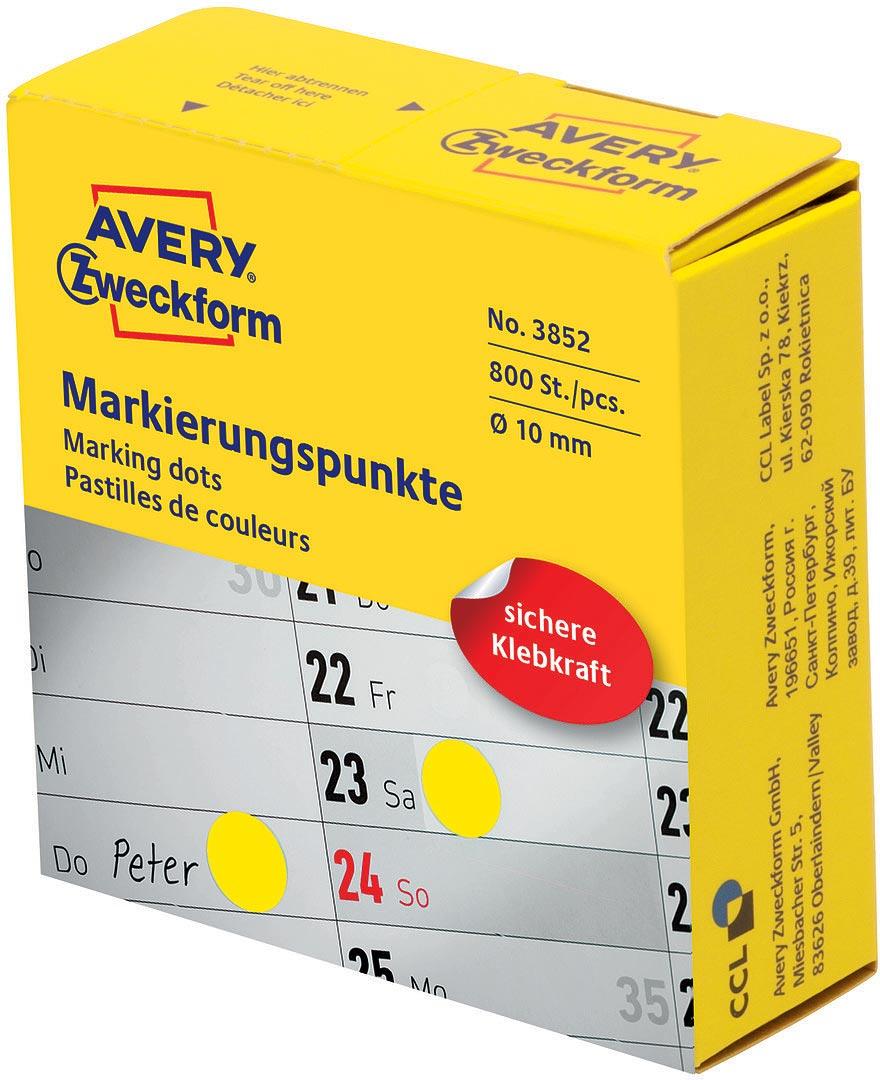 Avery Zweckform Этикетки-точки самоклеящиеся в диспенсере цвет: желтый, диаметр 1 см 800 шт 3852 avery zweckform этикетки точки самоклеящиеся в диспенсере цвет зеленый диаметр 1 9 см 800 шт