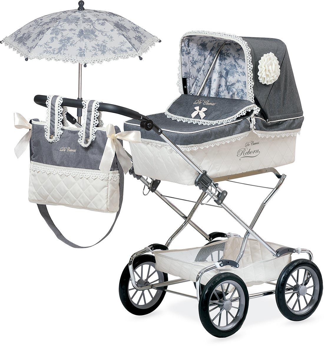 DeCuevas Коляска для куклы Реборн с сумкой и зонтиком 82000 decuevas коляска для куклы романтик с сумкой и зонтом цвет розовый 65 см