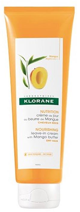 Klorane Крем питательный несмываемый для волос с маслом манго, 125 мл шампунь с маслом манго klorane увлажняющий и питательный 400 мл