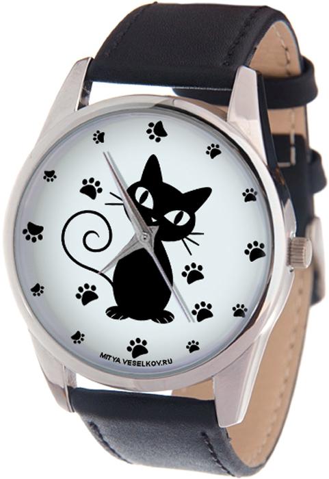 Наручные часы женские Mitya Veselkov Кошка и следы, цвет: черный, белый. MV-238 шапка женская mitya veselkov цвет сиреневый shapka3 vio sad размер универсальный