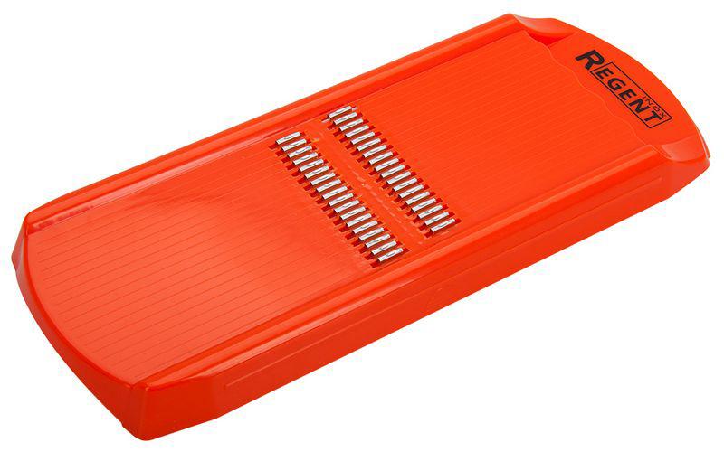 Терка для моркови по-корейски Regent Inox Presto , цвет: оранжевый, 32,7 х 12,5 х 2,5 см терка regent inox presto шестигранная цвет чёрный красный стальной 21 см 93 ac gr 45