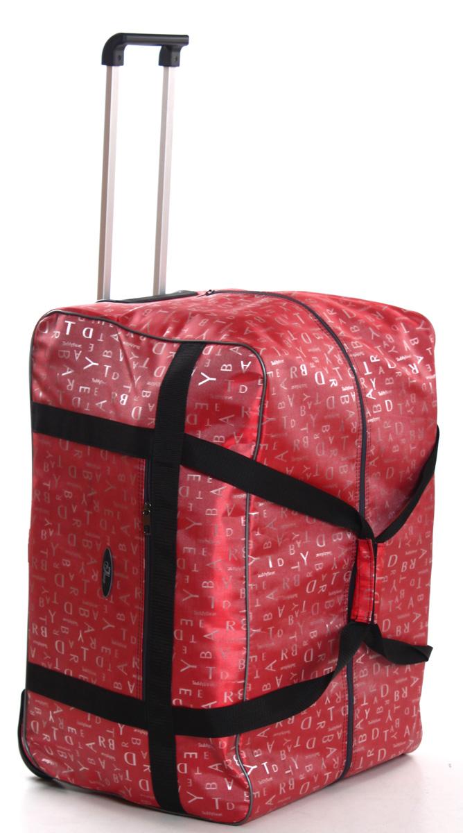 Сумка дорожная Ibag Коралловые буквы, на колесах, цвет: коралловый, 94 л сумка тележка хозяйств на колесах с выдвижной ручкой раз сумки33х23х55 см клетка ассорти 4 цв