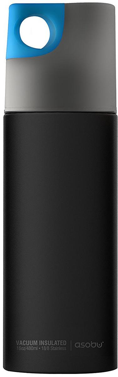Термобутылка Asobu Le Canal, цвет: черный, серый, голубой, 0,48 л термобутылка 0 45 л asobu times square travel bottle белая sbv15 white