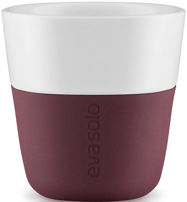 Чашка кофейная Eva Solo, цвет: бордовый, 80 мл, 2 шт501058Набор чашек для эспрессо Eva Solo рассчитан на 80 мл — классическое количество эспрессо, а также стандарт для большинства кофе-машин. Чашки из белоснежного фарфора и с цветным силиконовым чехлом, который оберегает руки от соприкосновения с горячей поверхностью. Чехол легко снимается, после чего чашку можно мыть в посудомоечной машине. В комплекте 2 чашки.