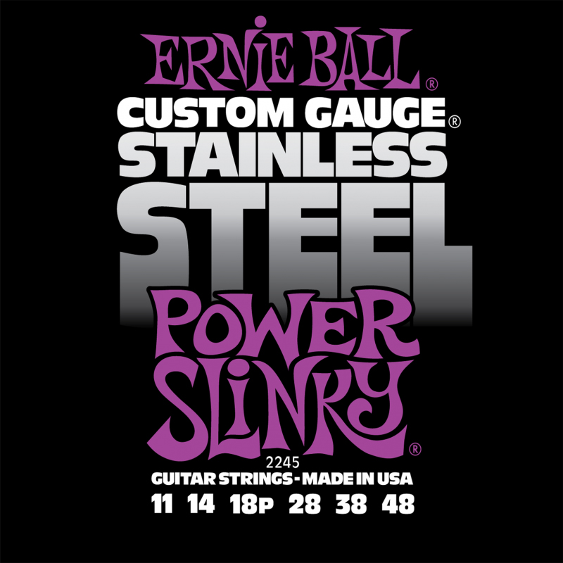 Ernie Ball Power Slinky Stainless Steel Wound струны для электрической гитары (11-48) me 009 double stars stainless steel stud earrings silver pair