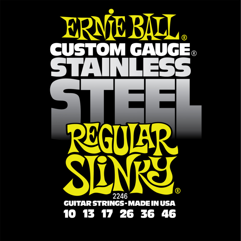 Ernie Ball Regular Slinky Stainless Steel Wound струны для электрической гитары (10-46) me 009 double stars stainless steel stud earrings silver pair
