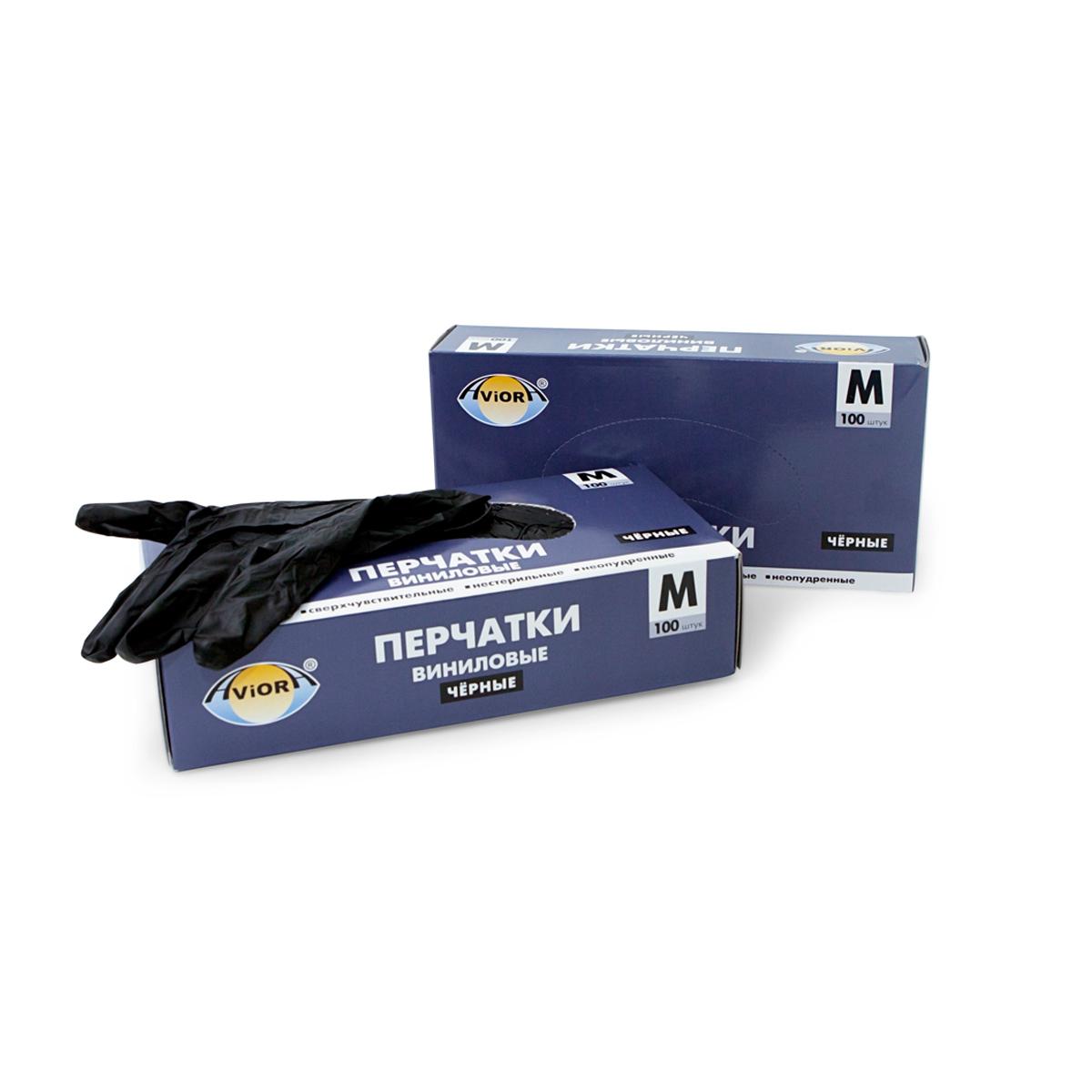 """Перчатки виниловые """"Aviora"""", неопудренные, цвет: черный, размер 8 (M), 100 шт"""