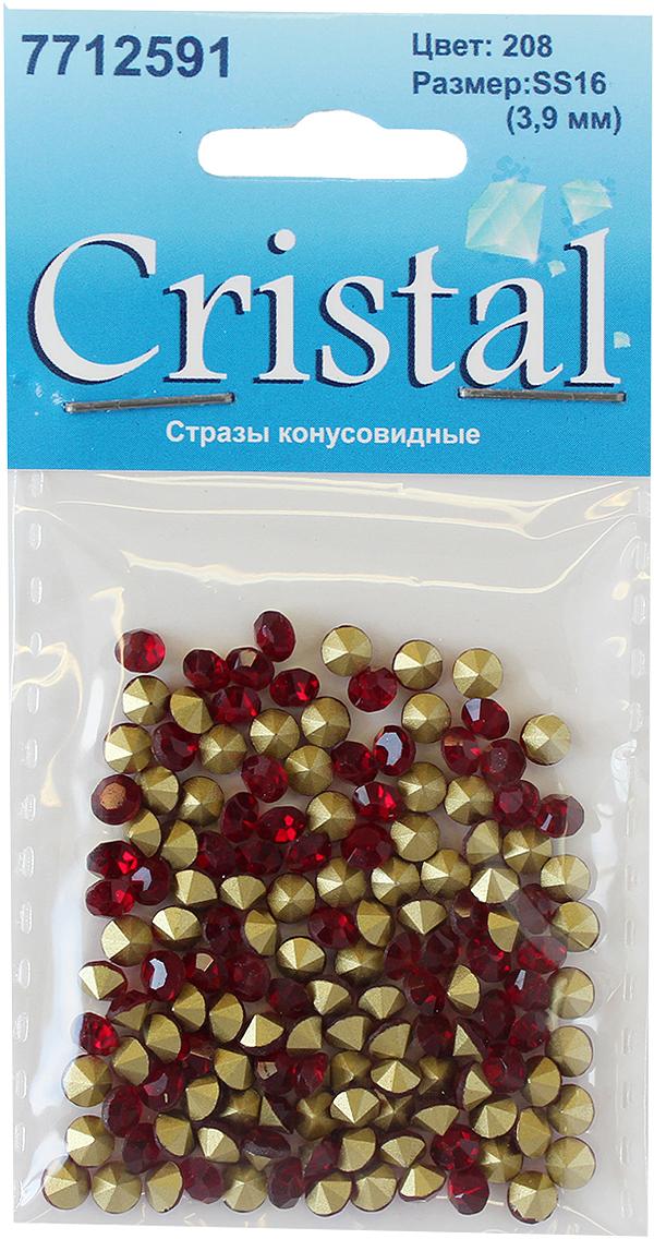 Стразы конусовидные риволи Cristyle, цвет: бордовый, 3,8 мм, 144 шт стразы холодной фиксации cristyle цвет серый металлик 3 8 мм 144 шт