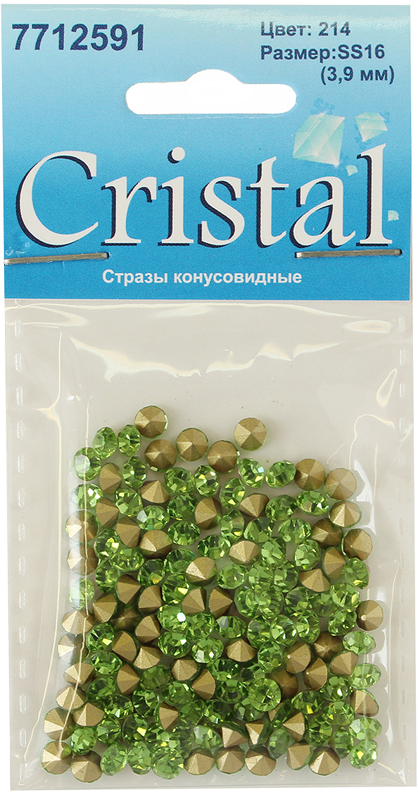 """Стразы конусовидные риволи """"Cristyle"""", цвет: светло-зеленый, 3,8 мм, 144 шт"""