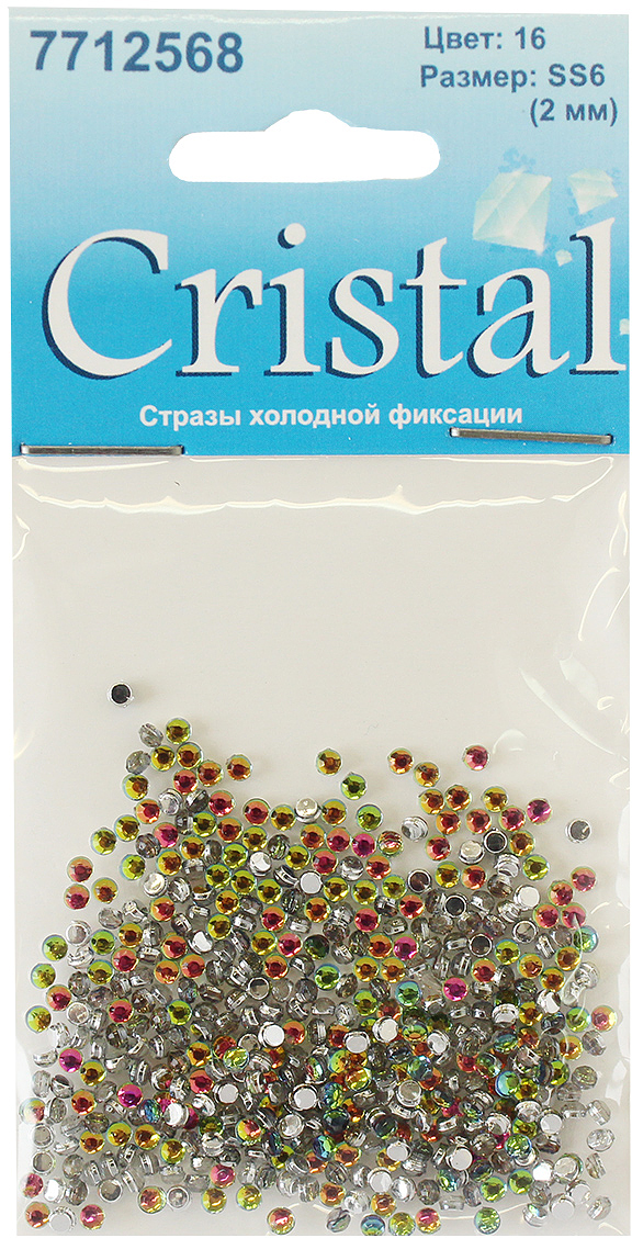 Стразы холодной фиксации Cristyle, цвет: мультиколор, диаметр 2 мм, 432 шт стразы холодной фиксации cristyle цвет серый металлик 3 8 мм 144 шт