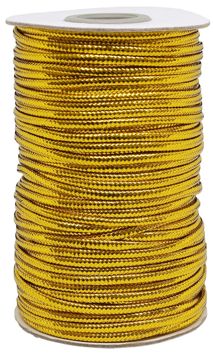 Шнур для рукоделия, с люрексом, цвет: золото, 3 мм x 50 м шнур 3 5дж 3 5дж 1 0 м 1148686