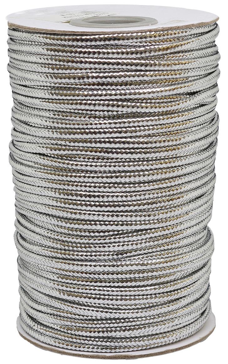 Шнур для рукоделия, с люрексом, цвет: серебро, 3 мм x 50 м шнур 3 5дж 3 5дж 1 0 м 1148686