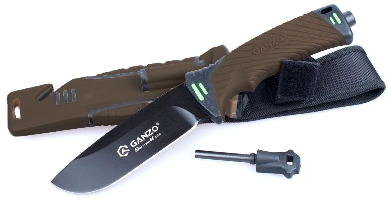 Нож туристический Ganzo, цвет: светло-коричневый. G8012