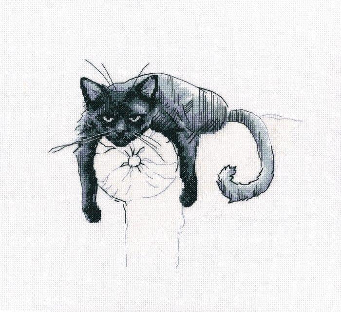 """Набор для вышивания крестом РТО """"Среди черных котов"""", 18,5 х 22,5 см. M666"""
