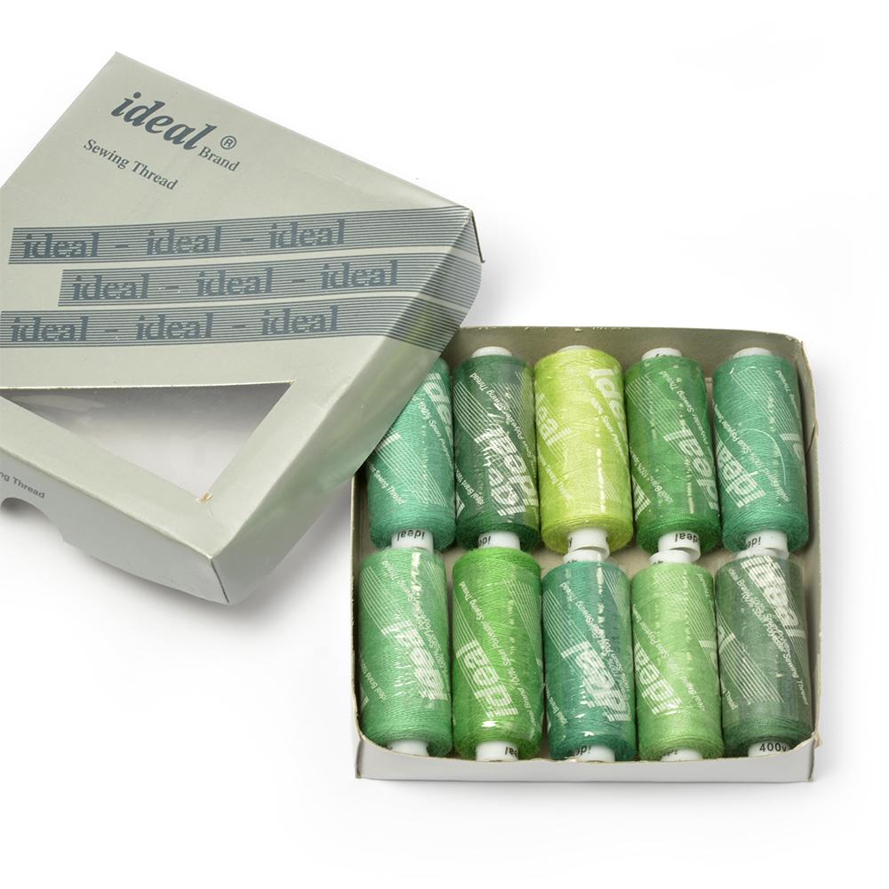 """Набор швейных ниток """"Ideal"""", №40, цвет: зеленый, 366 м, 10 шт"""