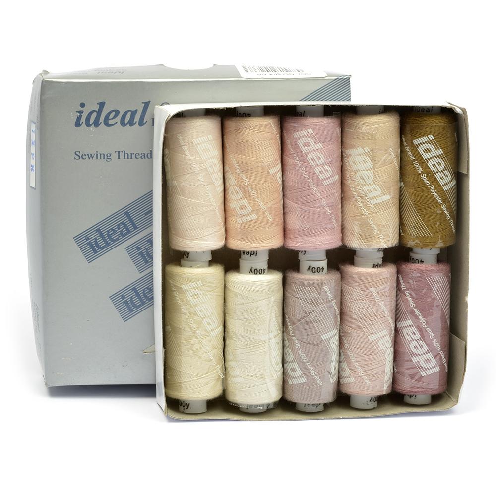 Набор швейных ниток Ideal, №40, цвет: мультиколор (MIX PR), 366 м, 10 шт Уцененный товар (№20)