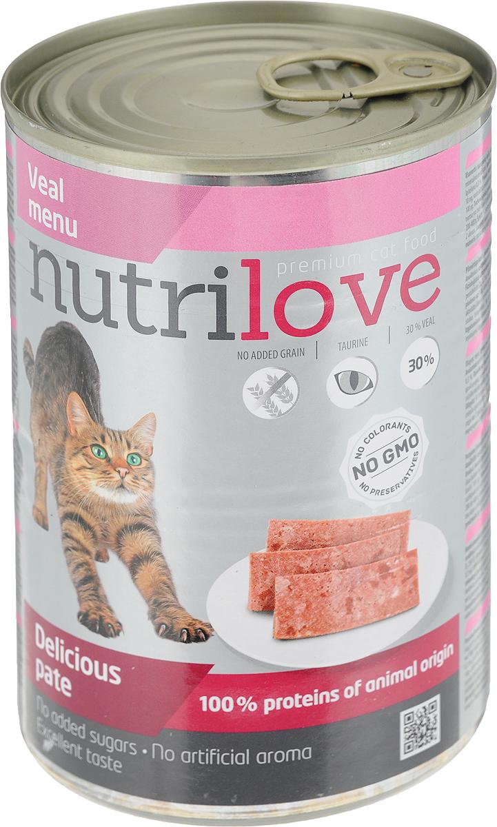Корм консервированный Nutrilove для кошек, паштет с телятиной, 400 г корм консервированный dr clauder s для кошек с телятиной и индейкой 100 г