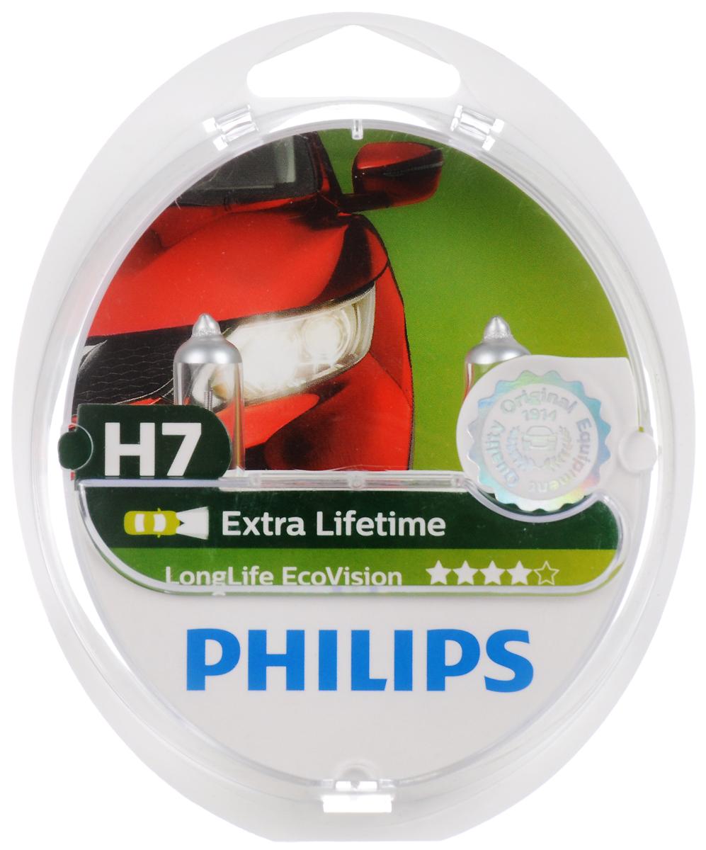 Галогенная автомобильная лампа Philips LongLife EcoVision H7 12V-55W увелич. срок службы 2шт. 12972LLECOS2 автомобильная лампа h11 55w longlife ecovision 1 шт philips