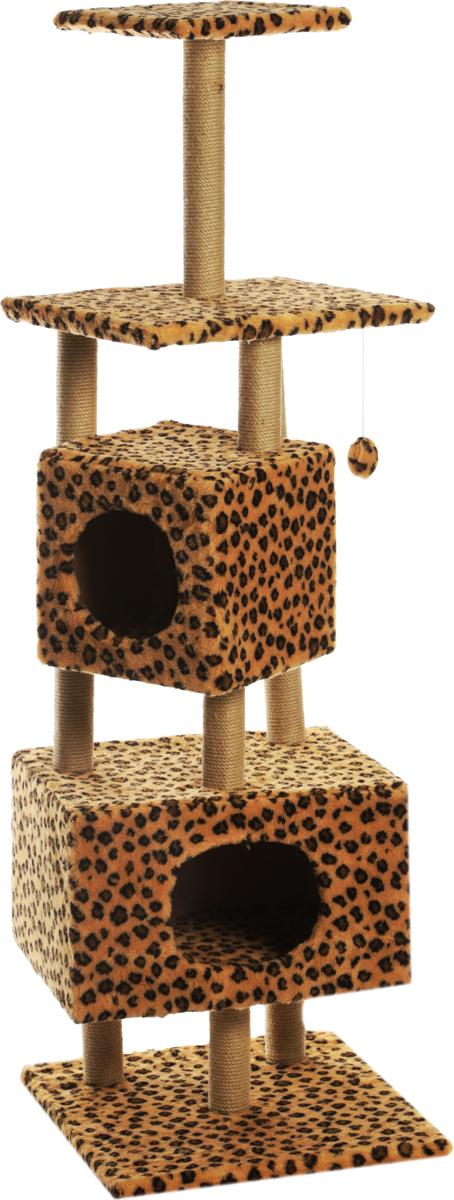Фото - Домик-когтеточка Меридиан, квадратный, с площадкой и полкой, цвет: леопардовый, 52 х 52 х 166 см домик когтеточка меридиан круглый с двумя игрушками цвет леопардовый 65 х 50 х 153 см