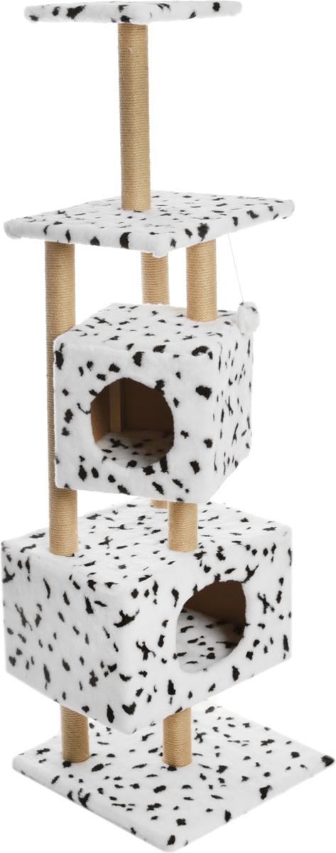 Домик-когтеточка Меридиан Далматин, квадратный, с площадкой и полкой, 52 х 52 х 166 см домик когтеточка меридиан круглый с площадкой цвет белый черный бежевый 52 х 52 х 105 см