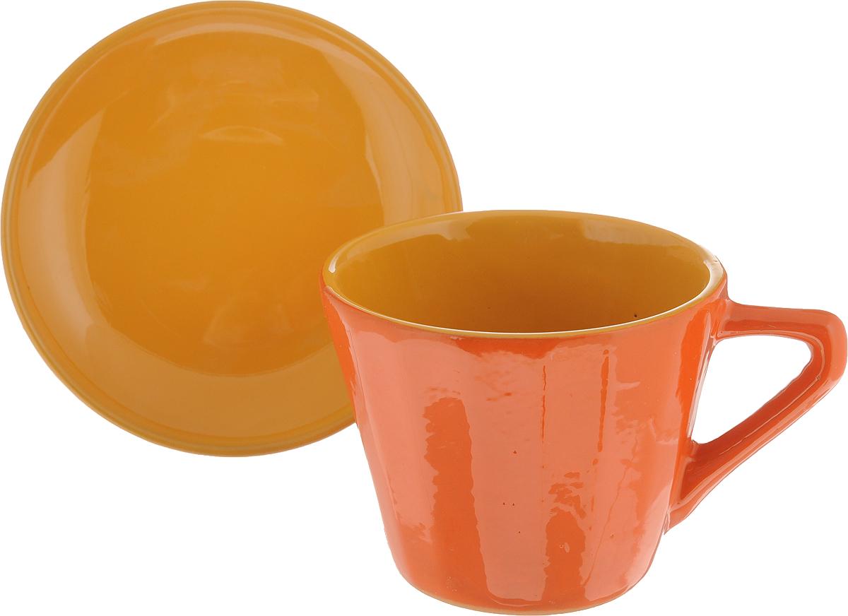 Чайная пара Борисовская керамика Ностальгия, цвет: оранжевый, желтый, 200 мл чайная пара борисовская керамика ностальгия цвет темно фиолетовый голубой 200 мл