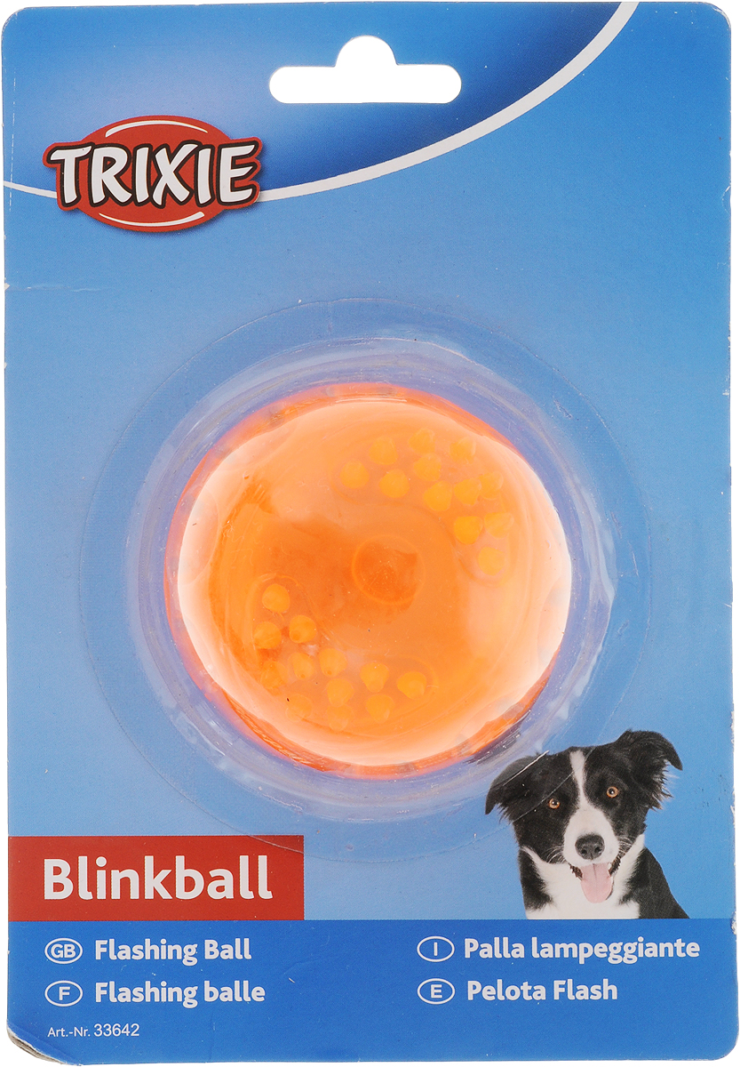 """Игрушка Trixie """"Мяч светящийся"""", цвет: оранжевый, диаметр 5,5 см"""