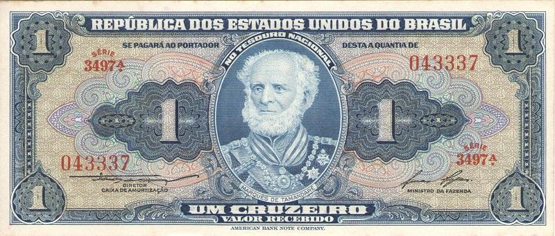 Банкнота номиналом 1 крузейро (подпись тип 2). Бразилия, 1954-1958 года банкнота номиналом 5 новых крузадо бразилия 1989 год
