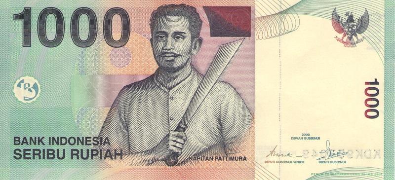 Банкнота номиналом 1000 рупий. Индонезия, 2008 год банкнота номиналом 100 рупий литера e индия 2015 год