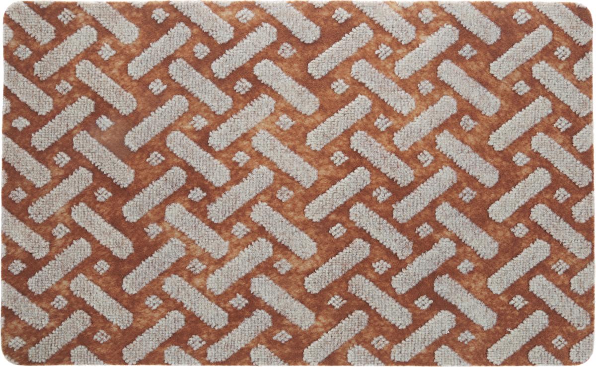 Коврик придверный Vortex Siesta, цвет: светло-коричневый, серый, 50 х 80 см коврик придверный vortex влаговпитывающий цвет коричневый 50 см х 80 см