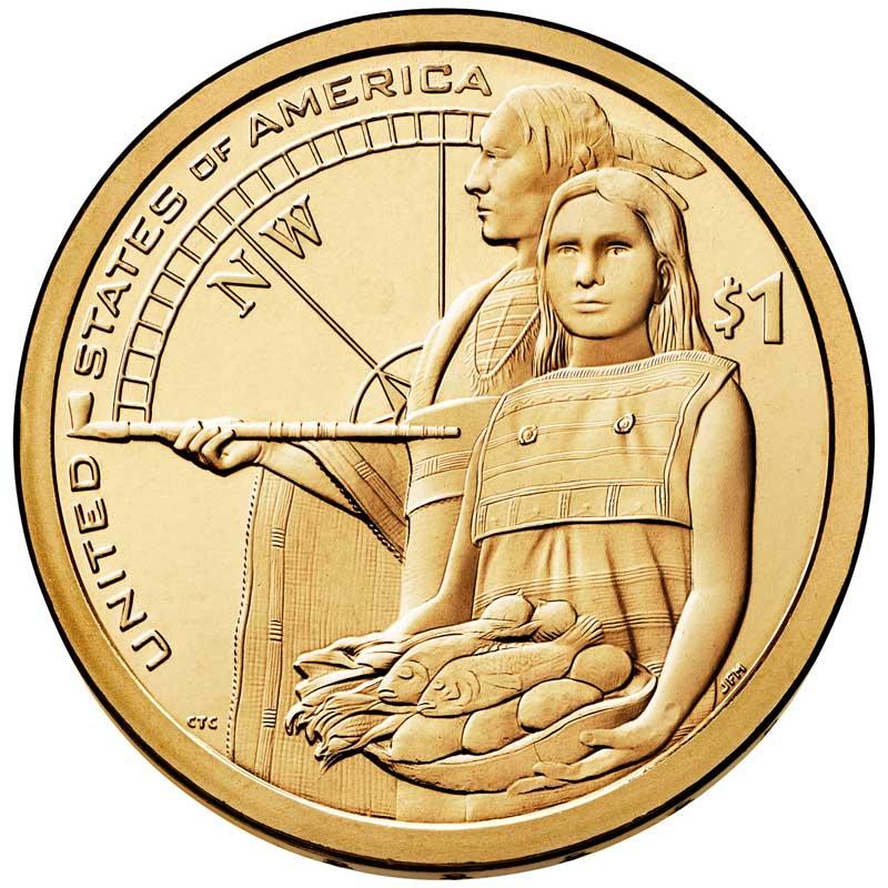 Монета номиналом 1 доллар 2014 США, Сакагавея18856
