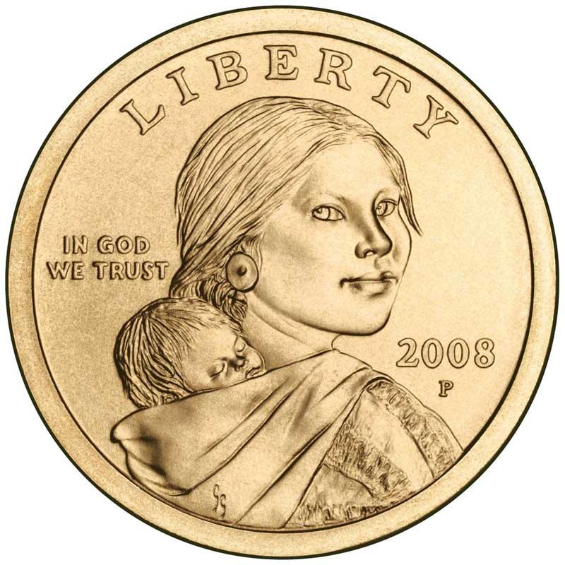 Монета номиналом 1 доллар 2008 США Сакагавея, двор P монета номиналом 1 доллар 2016 сша марк твен серебро unc