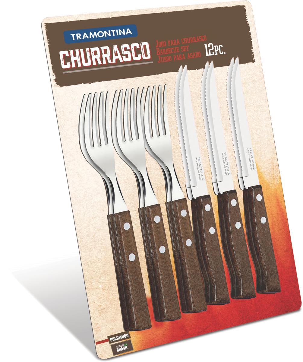Набор столовых приборов Tramontina Tradicional, для стейка, 12 предметов. 22299/009-TR набор из 7 ножей tramontina tradicional