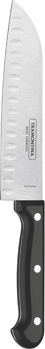 """Нож сантоку Tramontina """"Ultracorte"""", цвет: черный, длина лезвия 17,5 см"""