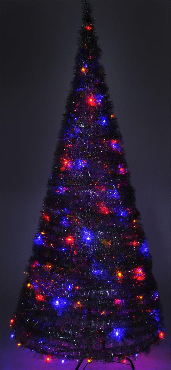 B&H Светодиодная Елка из мишуры с листьями, цвет свечения: мультицвет, 200 LED, 8 режимов, высота: 2,1 м елка искусственная уральская 1 8 м