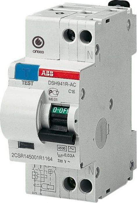 Выключатель автоматический ABB DSH941R, дифференциальный, 1P+N 16A 30mA (AC) хар. C дифференциальный автомат 1p n 32а тип c 30 ма 4 5 ka abb dsh941r