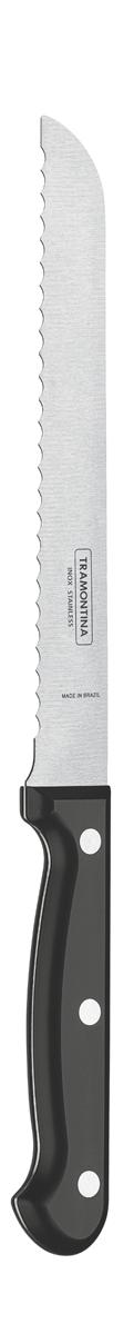 """Нож для хлеба Tramontina """"Ultracorte"""", цвет: черный, длина лезвия 17,5 см"""