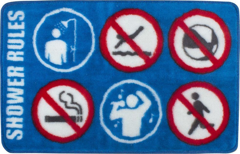 Коврик для ванной Balvi Shower Rule, цвет: синий, 75 х 45 см25866Отличный коврик для ванной Shower Rule, на котором изображены веселые правила пользования душем. Он понравится всем ценителя отличного юмора и домашнего комфорта. Правила гласят: в ванну не следует нырять, брать с собой мяч, курить и заниматься пробежкой. Однако никто не мешает вам расслабиться и громко исполнить любимые песни. Коврик оживит интерьер любой ванной комнаты и прекрасно справится с впитыванием лишней влаги с ваших стоп после принятия бодрящего душа. Плюс ко всему, ваши гости по достоинству оценят ваше чувство юмора. Коврик легко стирается.