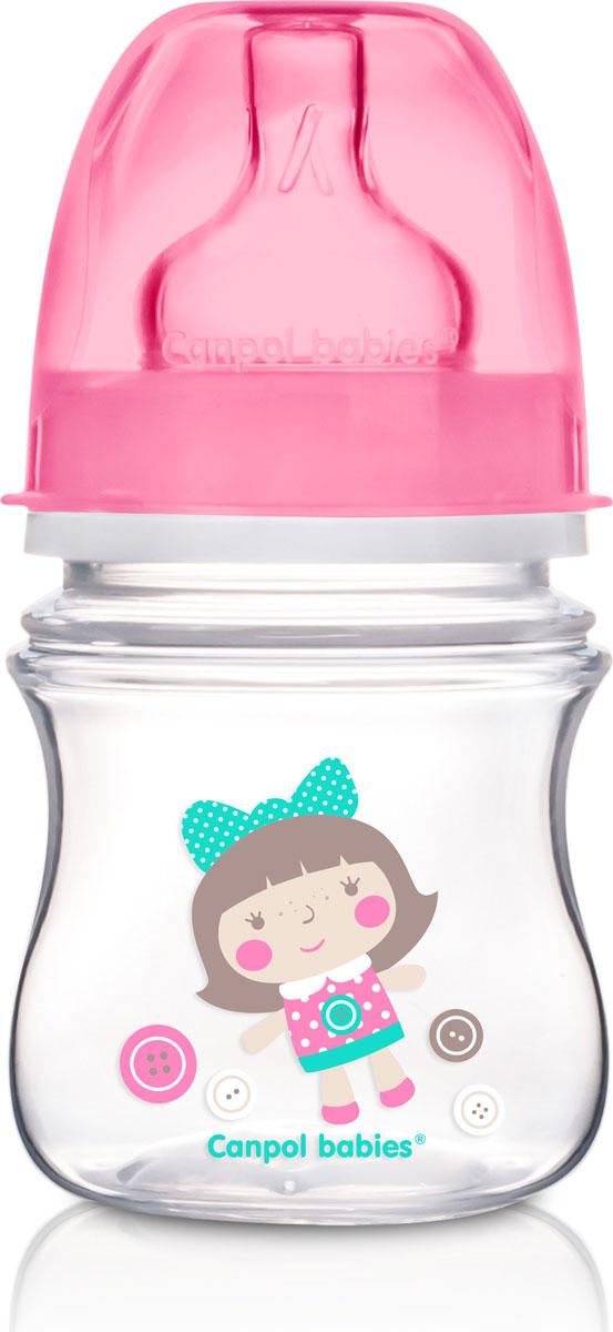 Canpol Babies Бутылочка EasyStart с широким горлышком антиколиковая от 0 месяцев цвет розовый 120 мл цена