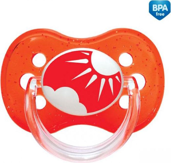 Canpol Babies Пустышка круглая силиконовая Nature от 6 до 18 месяцев цвет красный