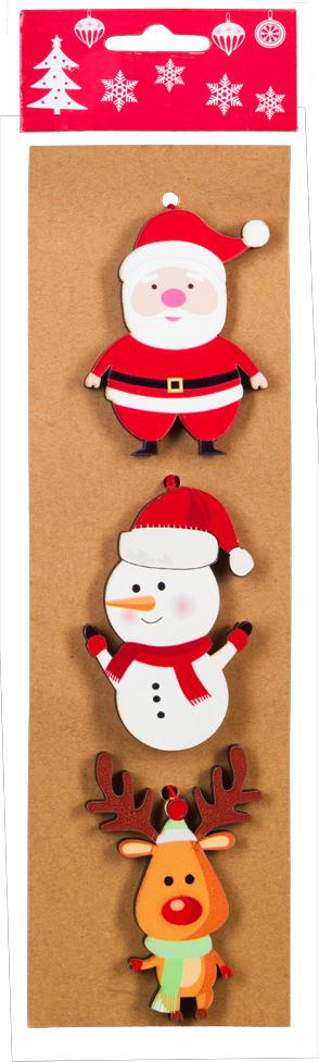 Фото - Набор новогодних украшений для интерьера Erich Krause Праздничное веселье: Дед Мороз, олень и снеговик, 8,5 см, 3 шт набор новогодних украшений 1 м 3 шт красный
