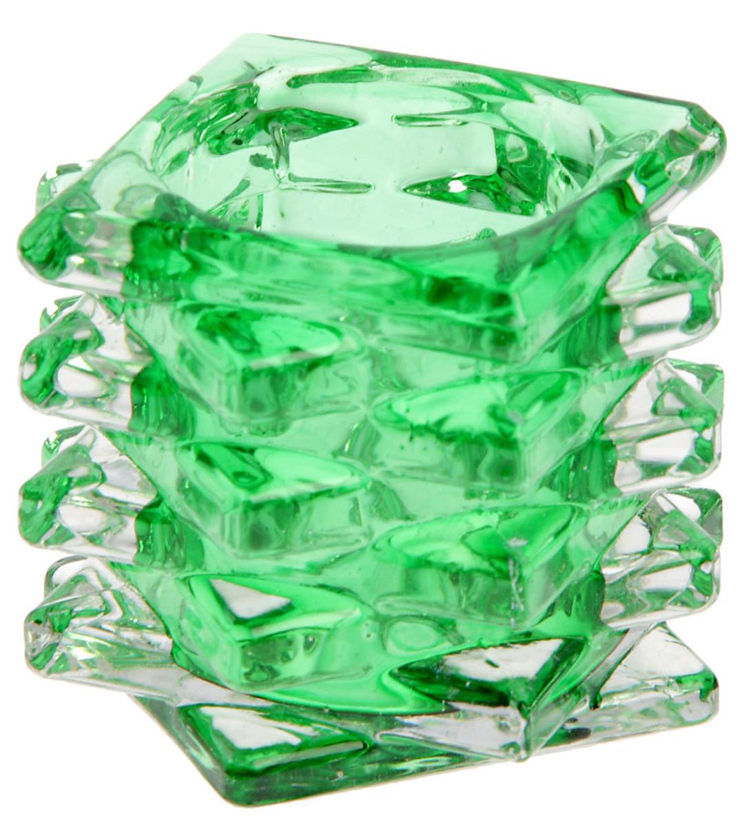 """Подсвечник """"Пятый элемент"""", цвет: прозрачный, зеленый, 7 х 7 х 5 см"""