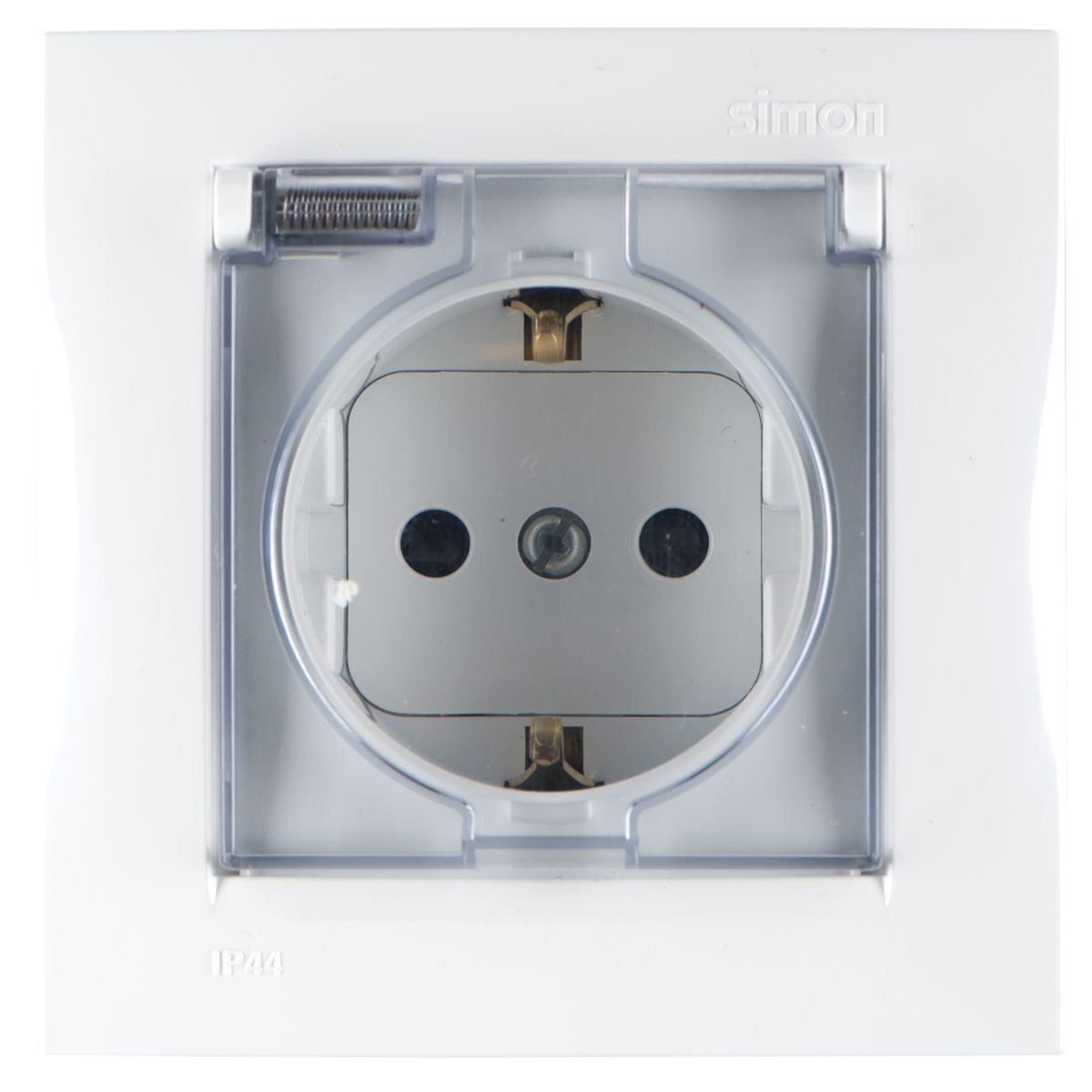 Розетка Simon Electric, с крышкой, с защитными шторками, с заземлением, цвет: белый розетка simon electric с заземлением цвет белый 16 а 250 в
