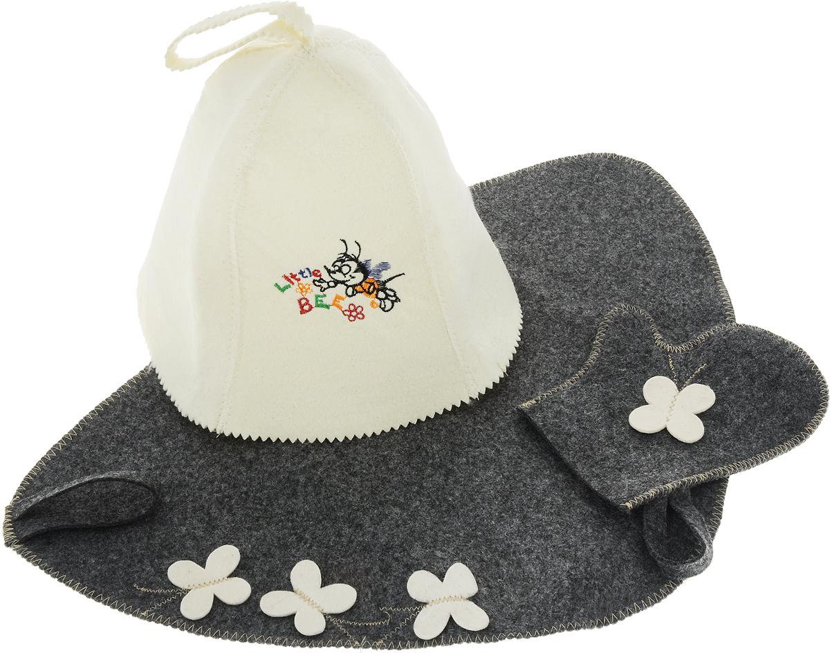 Детский набор для бани из войлока Proffi Home Пчелка (колпак, рукавица, коврик), цвет коврика: серый